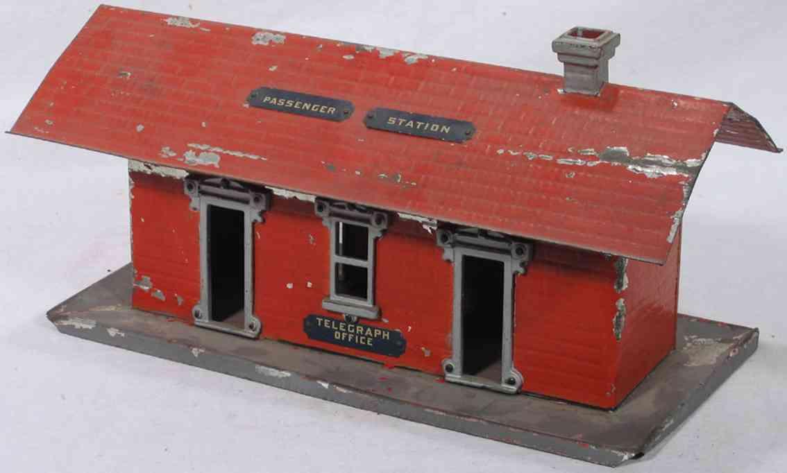 ives 114 1903 spielzeug eisenbahn bahnhof rot passenger station telegraph office