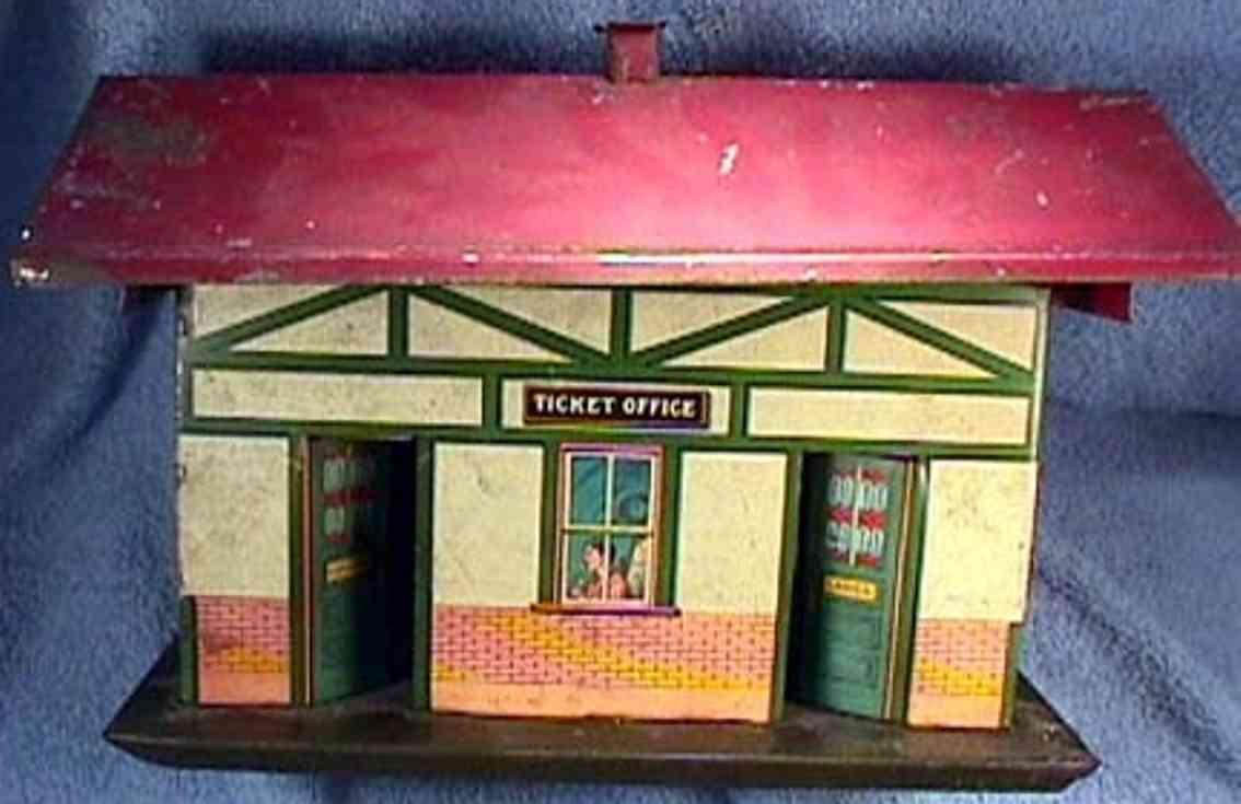 ives 114 1920 spielzeug eisenbahn bahnhof mit glatt lithografierten waenden