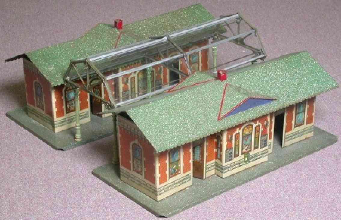 ives 123 1920 spielzeug eisenbahn zwei bahnhoefe mit einfahrtshalle