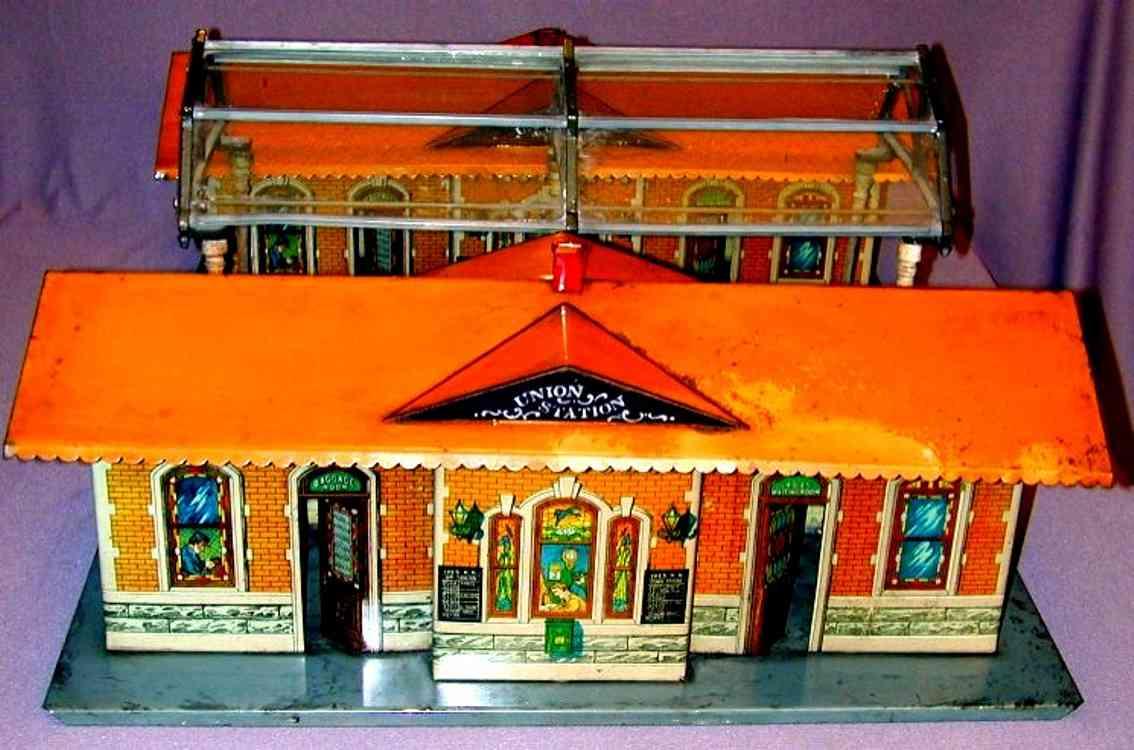ives 123 1920 spielzeug eisenbahn zwei bahnhoefe mit einfahrtshalle orange