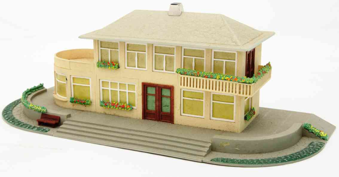 kibri 0/51/1 toy railway station with lateral attachment plastic metal roof
