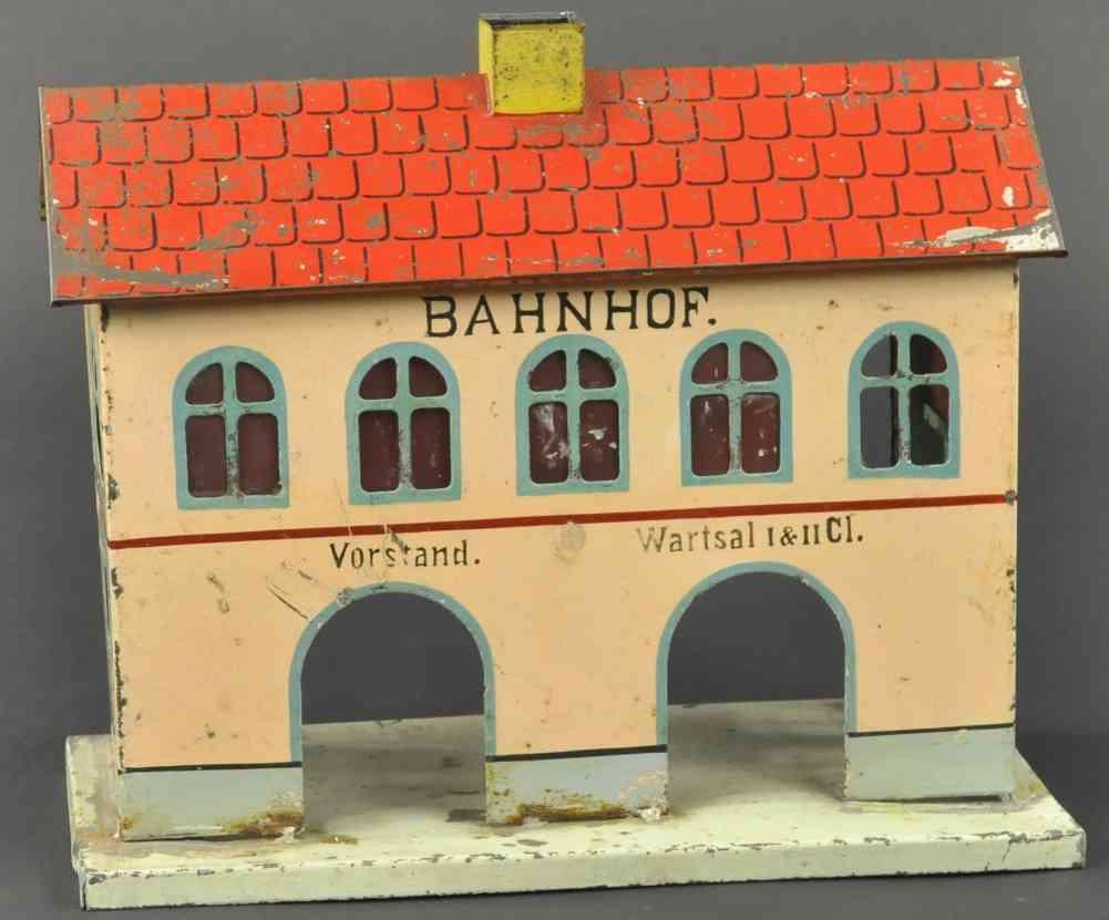 kibri spielzeug eisenbahn bahnhof handbemalt blech