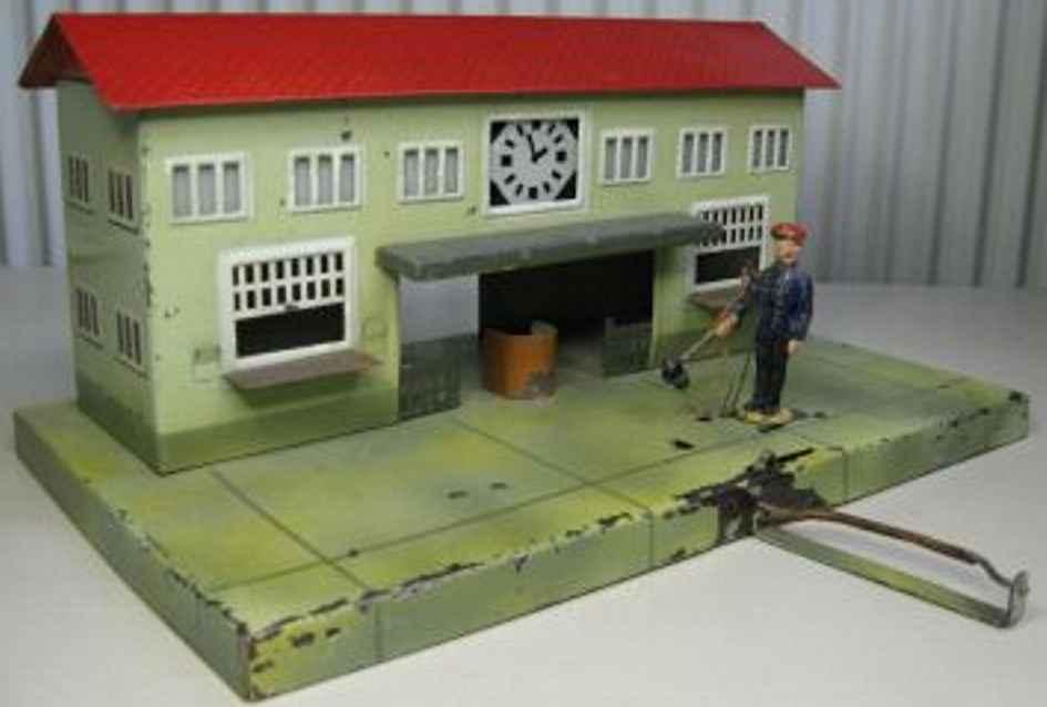 kibri 1/52/2 spielzeug eisenbahn bahnhof mittendurchgang, uhr fahrdienstleiter