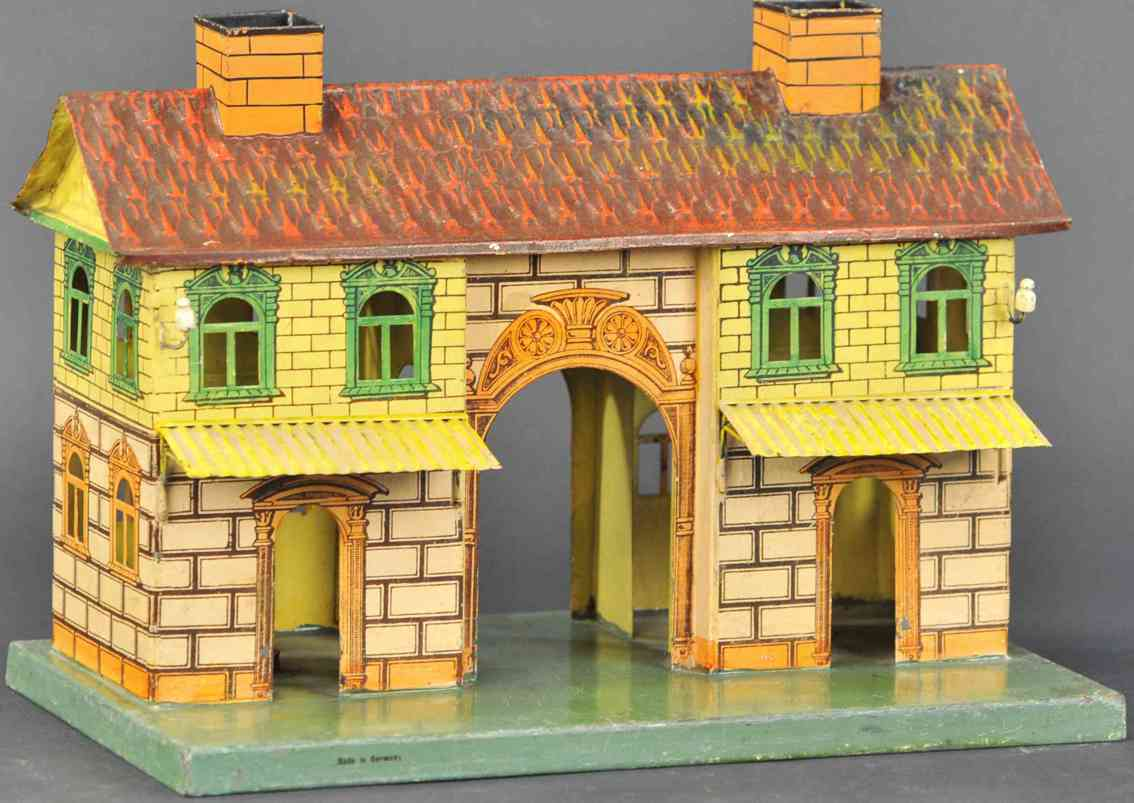 marklin 2002 toy railway station for candlelight reddish and yellowish stone painting england
