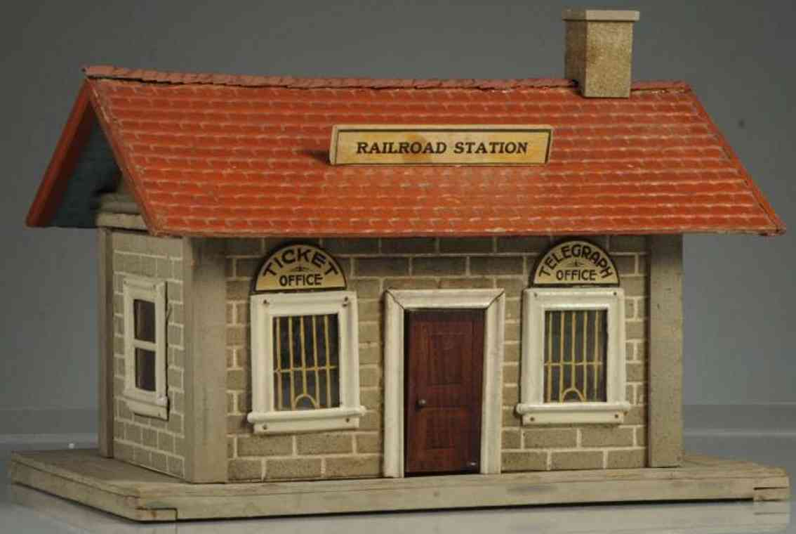 schoenhut toy station with red roof and one chimney