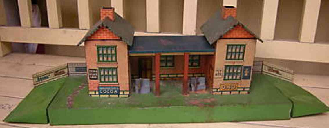 schuhmann,adolf 18/3 railway toy english style station two bricke side buildings