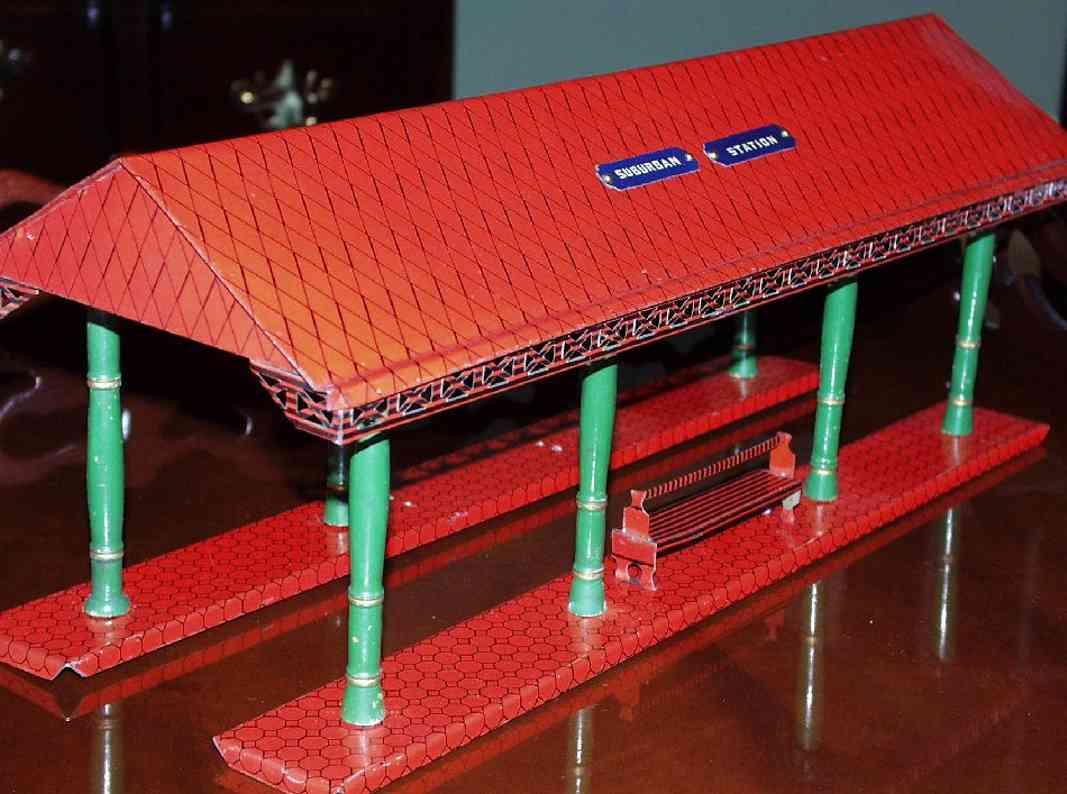 ives 117 (1905) spielzeug eisenbahn bahnsteig bahnhalle bahnsteighalle lithografiert, das dach in rot diamantförmig,