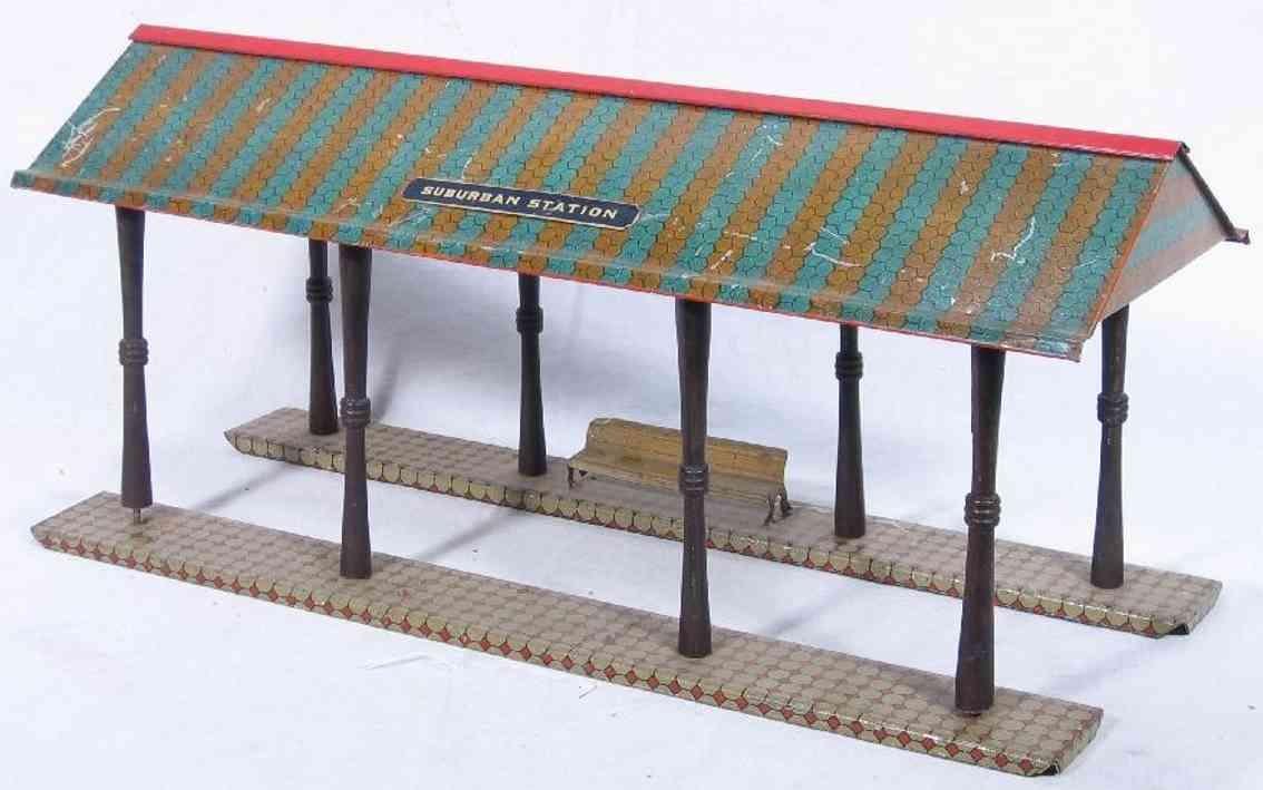 ives 117 (1910) spielzeug eisenbahn bahnsteig bahnhalle bahnsteihalle lithografiert, das dach im doppel hexa-muster