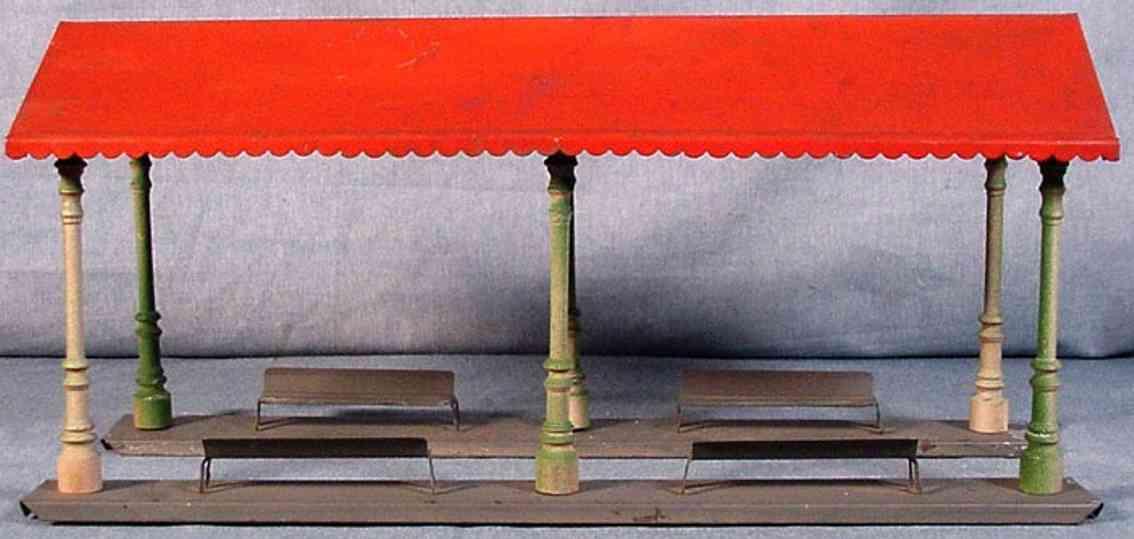 ives 117 spielzeug eisenbahn bahnsteig zwei sockel grau rot