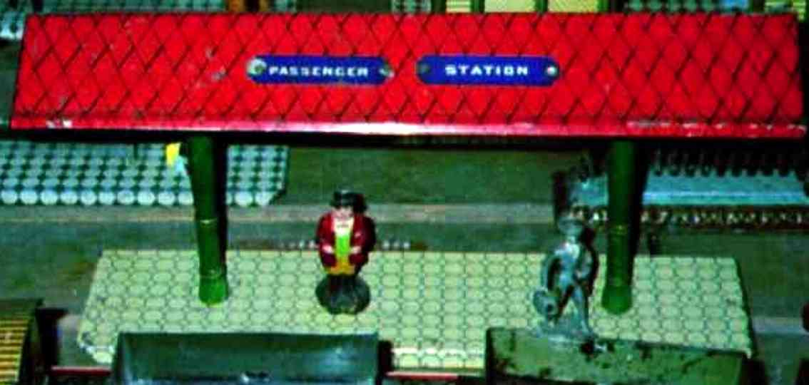 ives 119 (1905) spielzeug eisenbahn bahnsteig bahnhalle bahnsteig mit grünem sockel, zwei grünen säulen und rotem ra