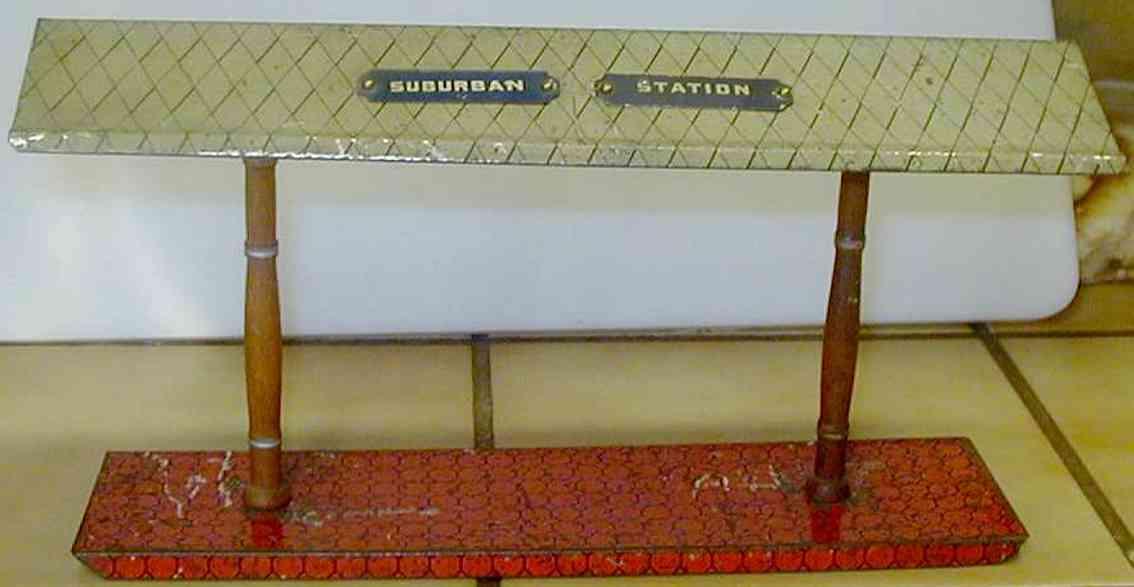 ives 119 (1905) spielzeug eisenbahn bahnsteig bahnhalle bahnsteig mit rotem sockel, zwei braunen säulen, weißem, rau