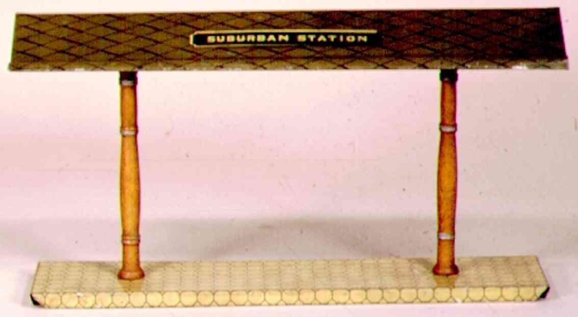 ives 119 (1907) spielzeug eisenbahn bahnsteig bahnhalle bahnsteig mit weißem sockel, zwei braunen säulen und weißem,