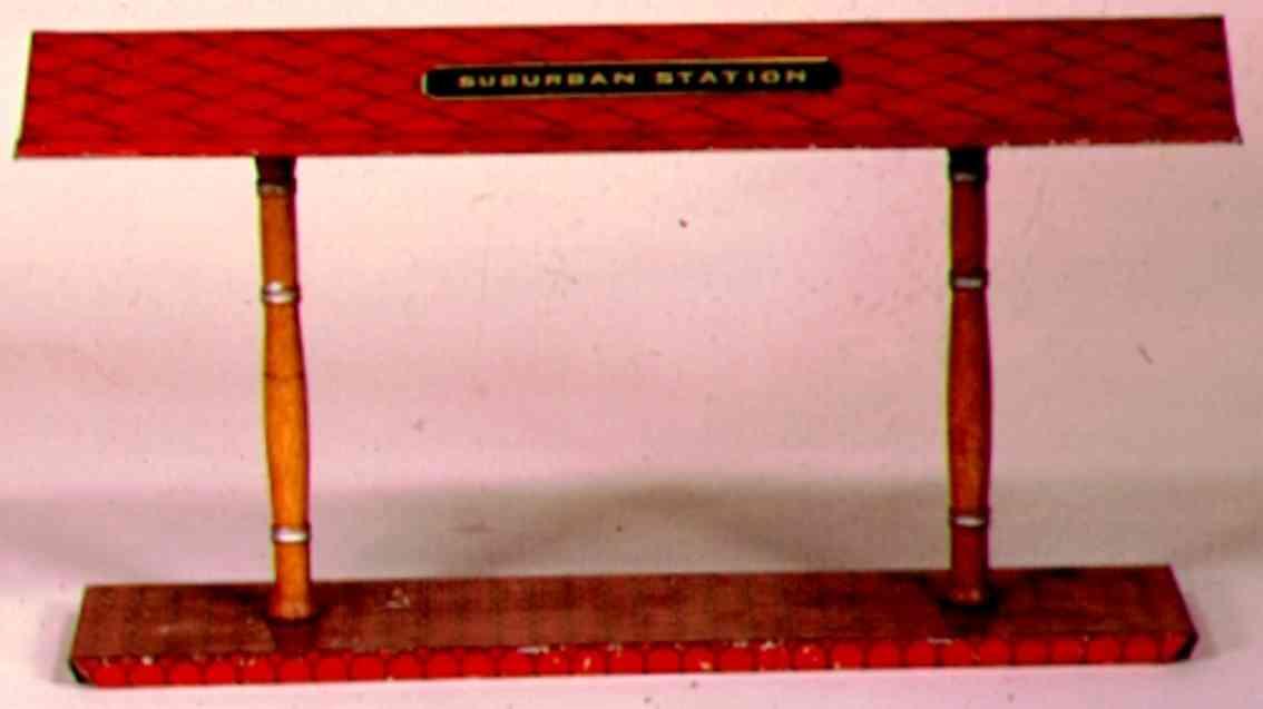 ives 119 (1907) spielzeug eisenbahn bahnsteig bahnhalle bahnsteig mit rotem sockel, zwei braunen säulen und rotem, r