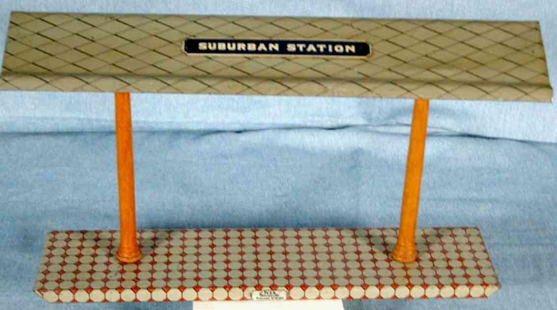 ives 119 (1909) spielzeug eisenbahn bahnsteig bahnhalle bahnsteig mit rotem und weißem sockel, zwei braunen säulen u
