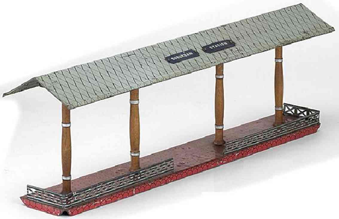 ives 120 (1905) spielzeug eisenbahn bahnsteig bahnhalle bahnsteig mit roterm sockel, vier braunen säulen und weißem,
