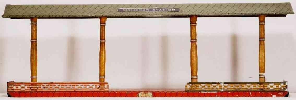 ives 120 1908 spielzeug eisenbahn bahnsteig mit rotem sockel ein schild