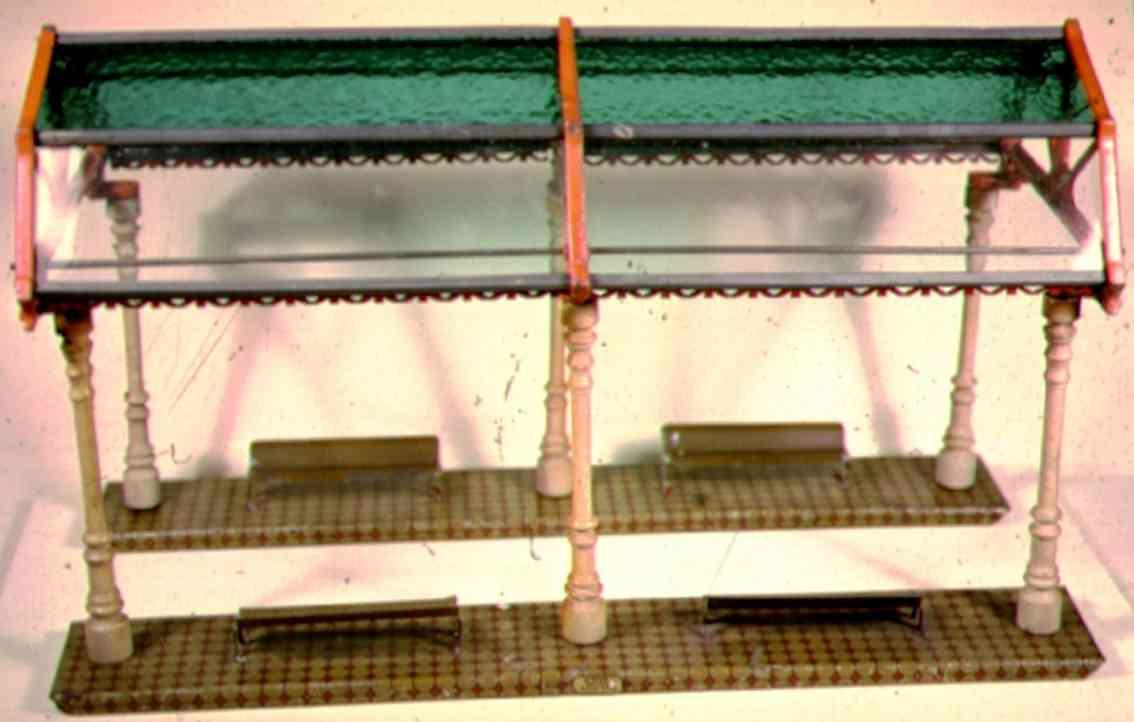 ives 121 (1910) spielzeug eisenbahn bahnsteig bahnhalle bahnsteig mit glaskuppel mit 8 glasscheiben, 6 pfeiler und 4