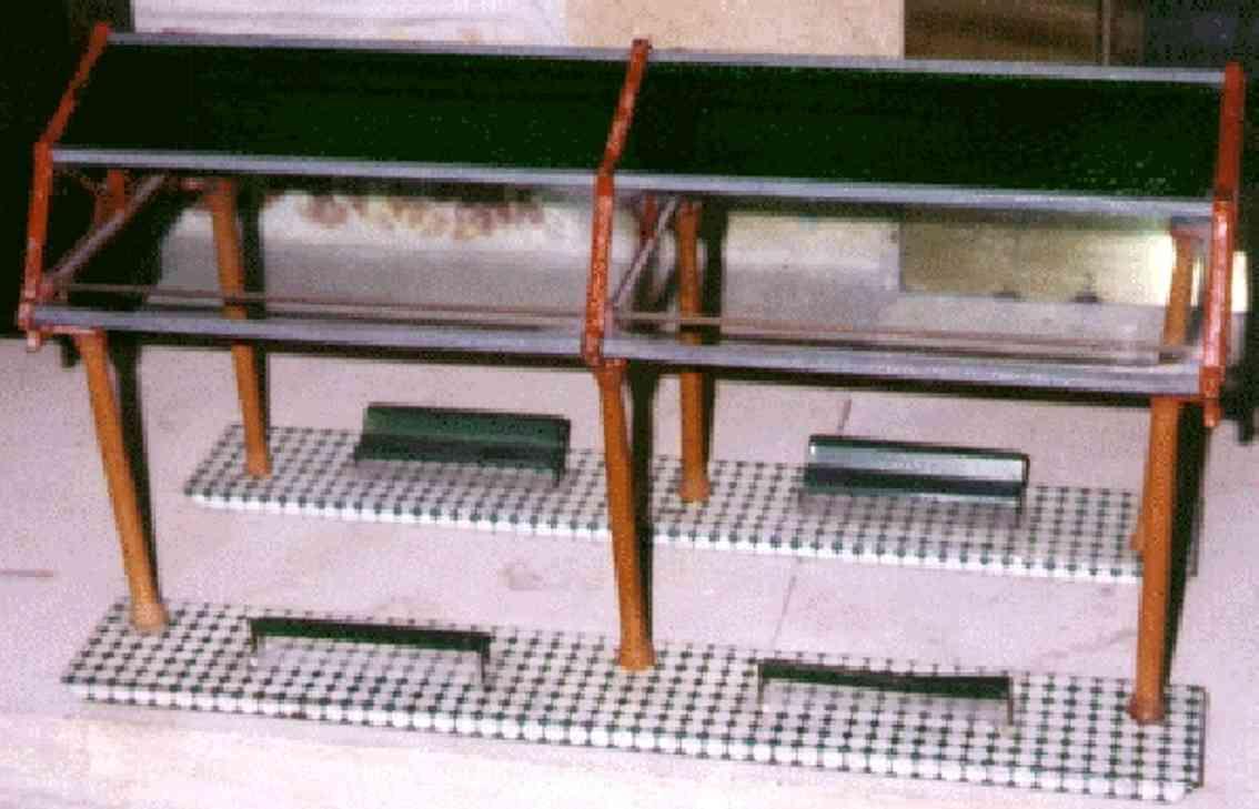 ives 121 (1911) spielzeug eisenbahn bahnsteig bahnhalle bahnsteig mit glaskuppel mit 8 glasscheiben, 6 pfeiler und 4