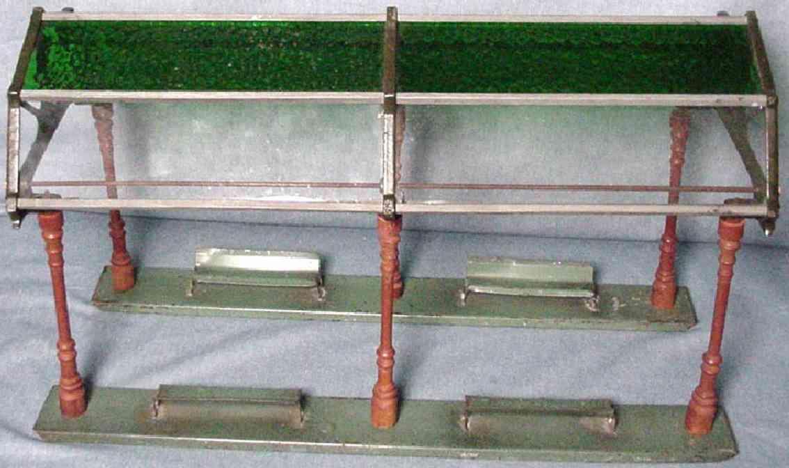 ives 121 (1914) spielzeug eisenbahn bahnsteig bahnhalle bahnsteig mit glaskuppel mit 8 glasscheiben, 6 pfeiler und 4