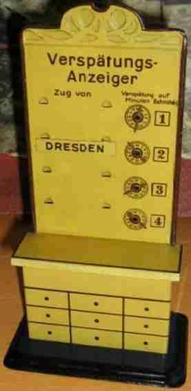 bing 10/6109 spielzeug eisenbahn  verspaetungsanzeiger gelb braun