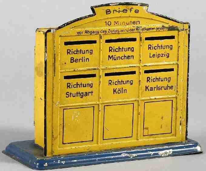 bing 10/6142 spielzeug eisenbahn briefkasten gelb