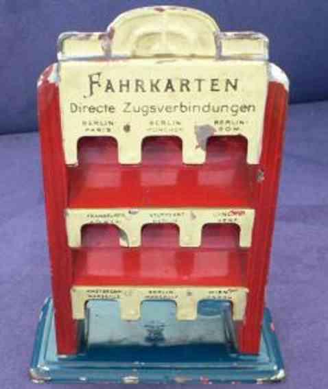 bing 10/639 spielzeug fahrkartenstaender rot creme 9 faecher