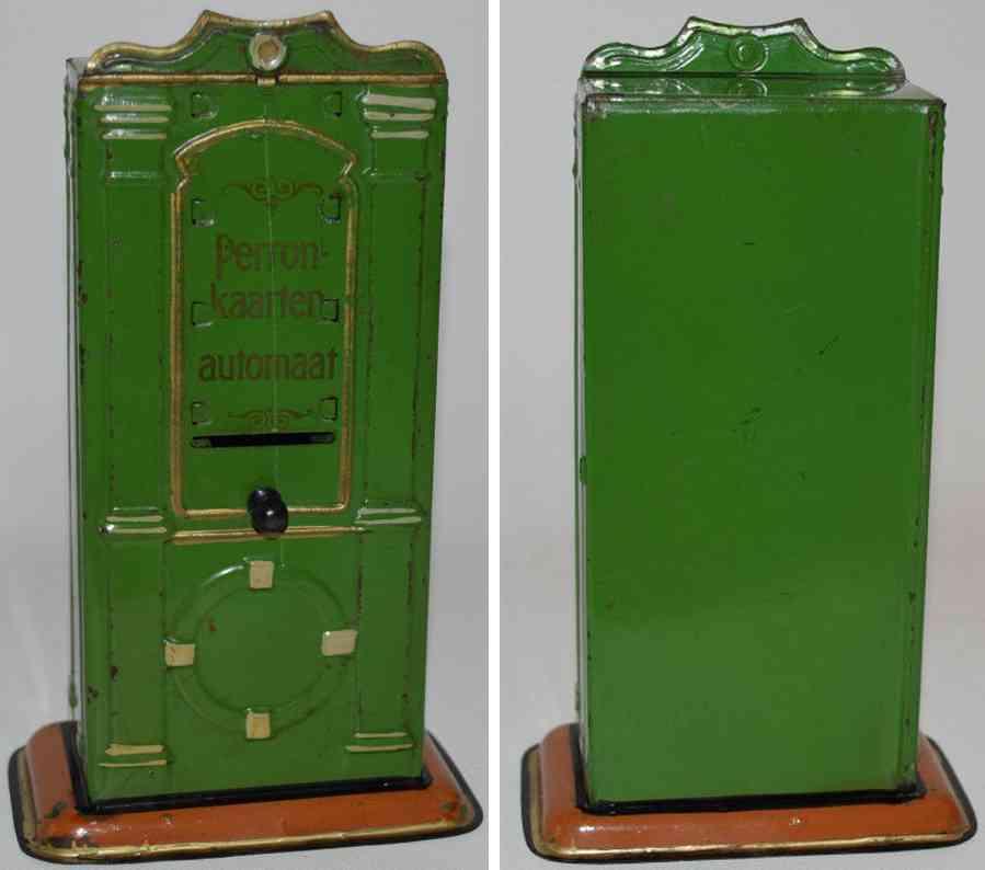 bing 10/66 spielzeug eisenbahn 14084/1 hollaendischer bahnsteigkarten-automat gruen
