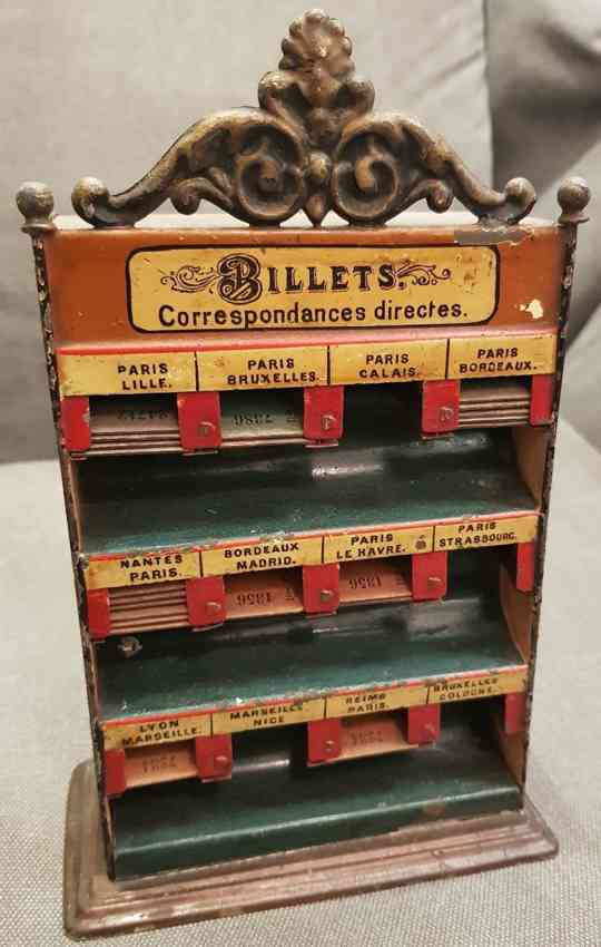 bing 6099 railway toy french ticket stand with 12 compartments