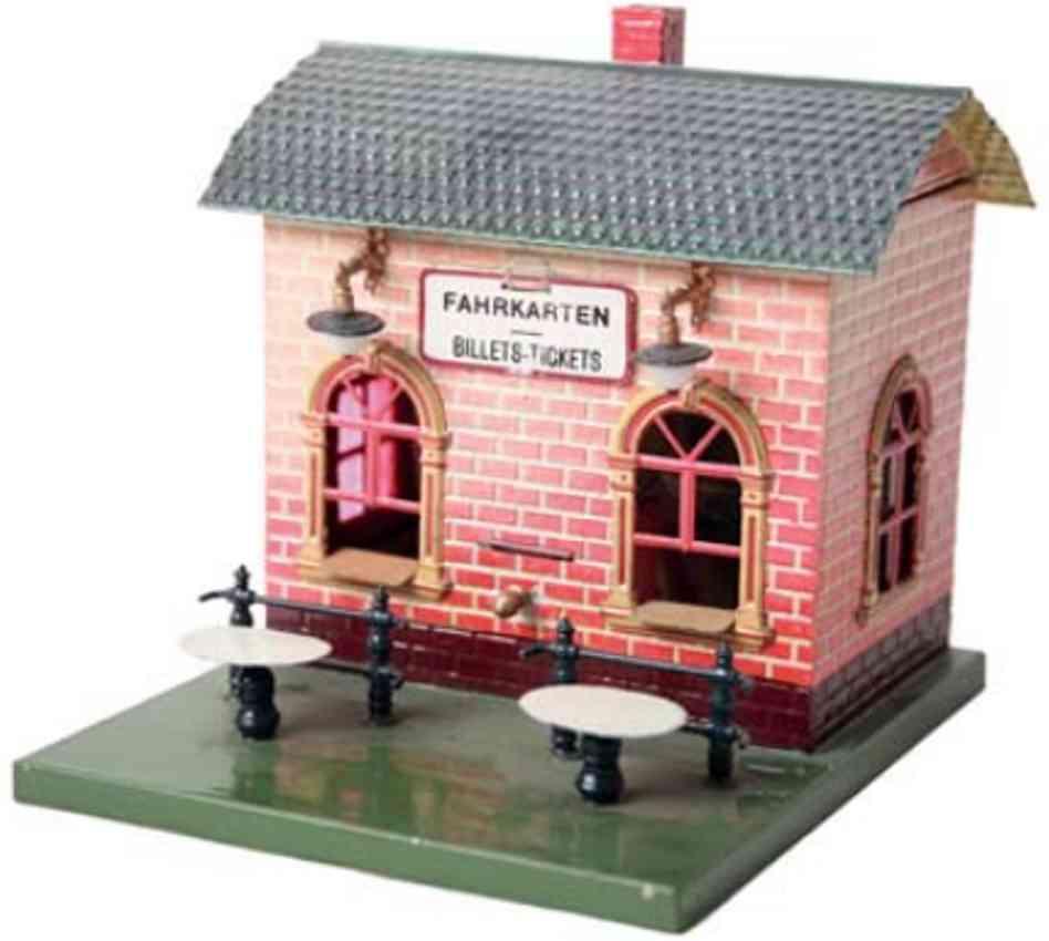 bing railway toy kiosk with ticket machine candle lighting