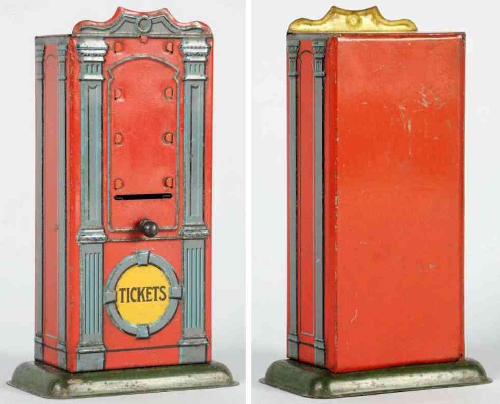 bing railway toy tin train ticekt dispenser in red
