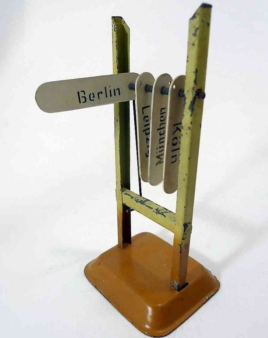 cabo 737/1 railway toy direction indicator #737/1, on a square base, with 2 stands,