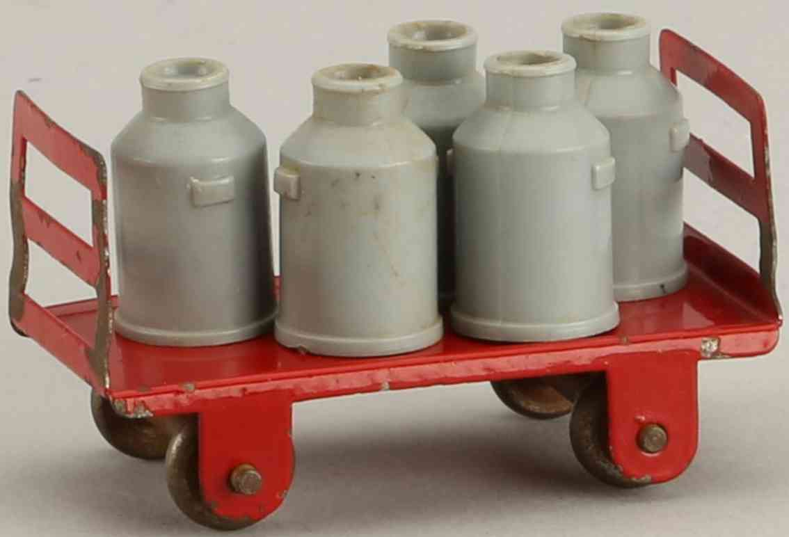 kibri 41/9 rot railway toy platform accessories milk cart red with six milk cans