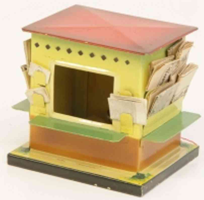 kibri 60/15 railway toy outbuilding newsstand on square base, a counter, red flat roof, electric