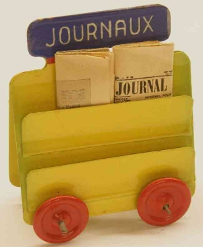 kibri 60/4 1/4 railway toy platform accessories french newspaper car with newspapers in lemon and red, above