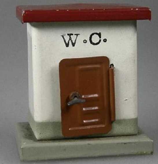 kibri spielzeug eisenbahn toilette bahnhofstoilette lithografiert, 1 tür zum öffnen, inneneinri