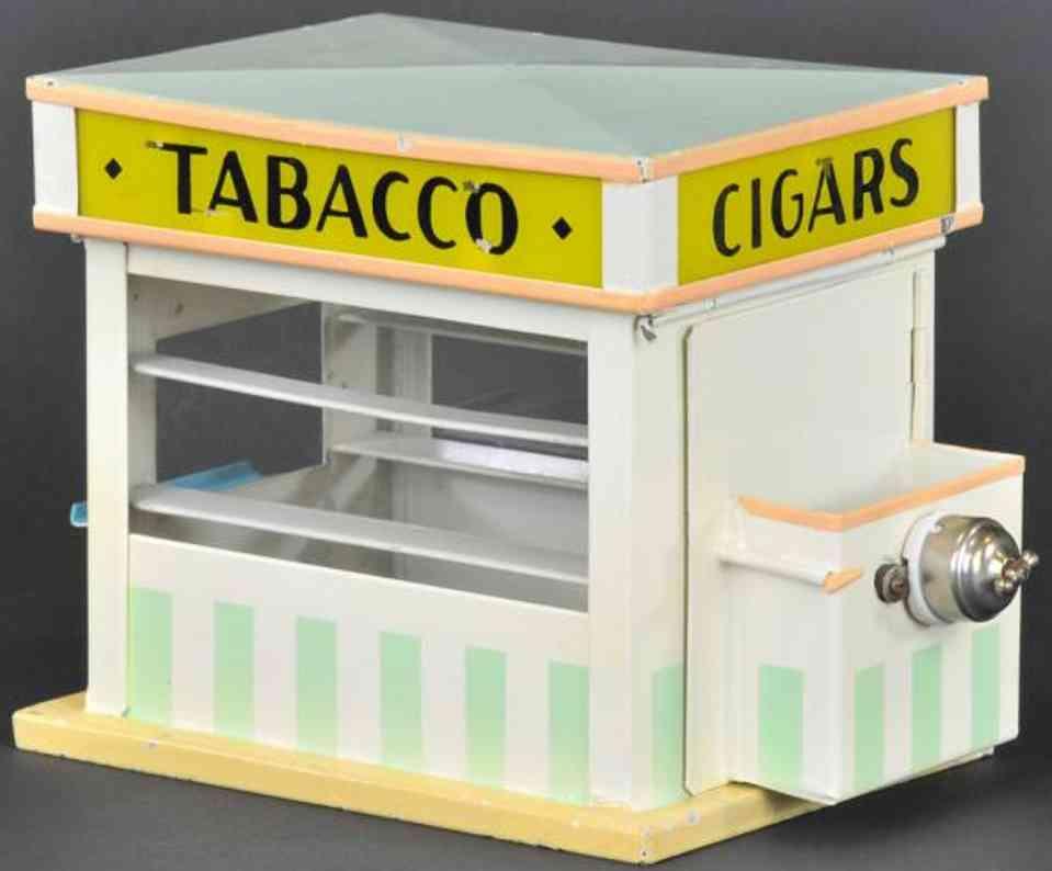 kibri spielzeug eisenbahn zubehoer tabak-stand, blechgebäude mit weißen und grünen streifen, gl