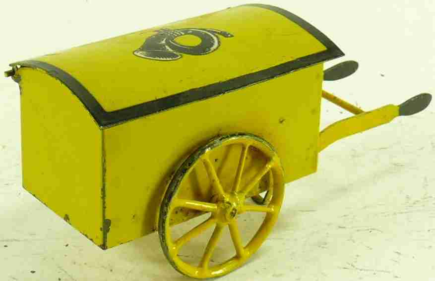 kraus-fandor 2500 railway toy mail cart yellow post horn gauge 0