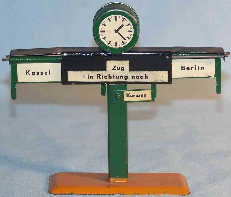 railway tin toy junction indicator with clock