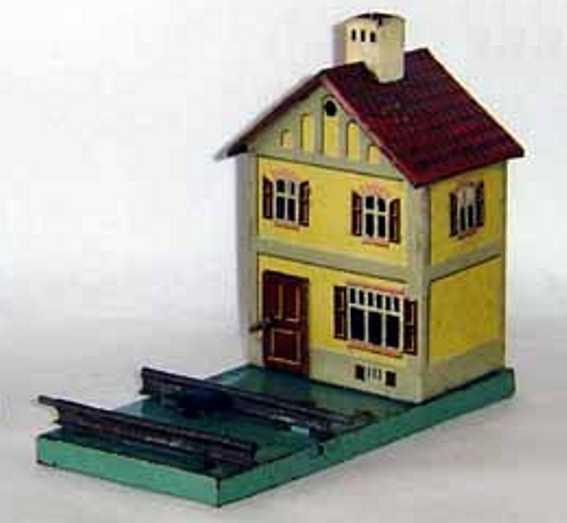 bing 10/6149 spielzeug eisenbahn bahnwärterhaus mit geprägtem, rotem dach und weißem kamin, d