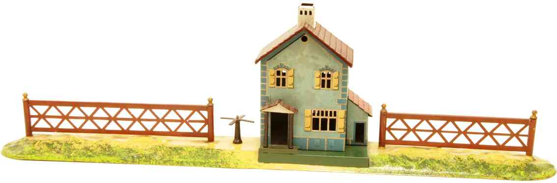 bing 10/6151 railway toy line keeper's lodge guardian's house  two fences and a turnstile