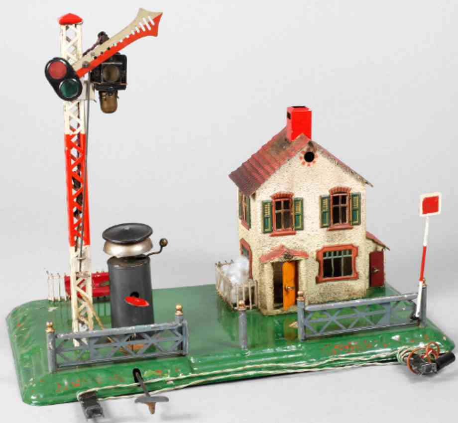 bing 8296/20 railway toy signalman's house fence bell clockwork