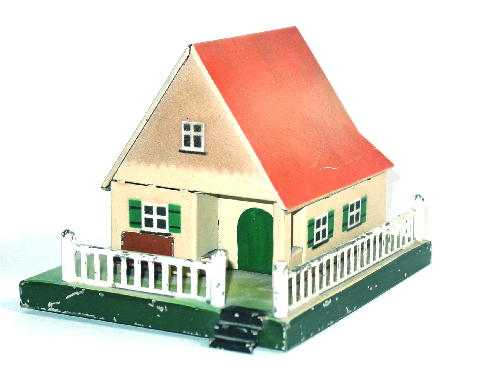 karl bub 926/10 railway toy warden house with bench and fence