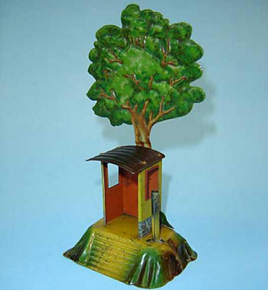 issmayer 52/1 railway toy train hut with guard and tin tree