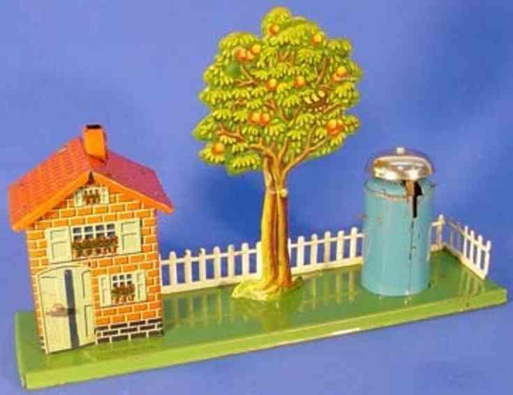 issmayer spielzeug eisenbahn bahnwaerterhaus mit baum und lautewerk