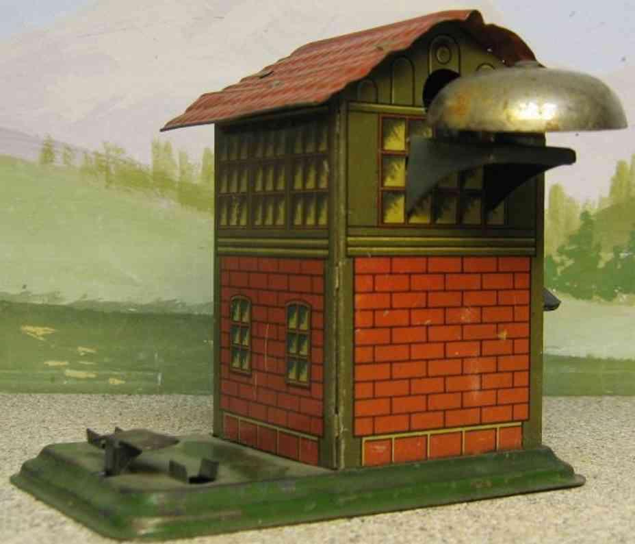 kraus-fandor spielzeug eisenbahn wärterhaus mit läutewerk auf sockel, lithografiert, seitlich