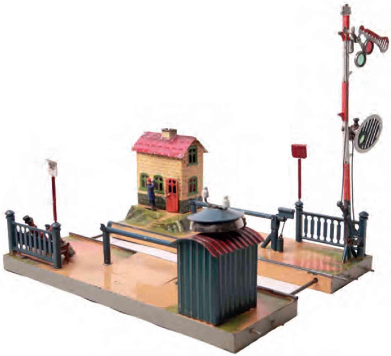 marklin maerklin 2698/2174 railway toy crossing gate with keeper's hut compressed air control