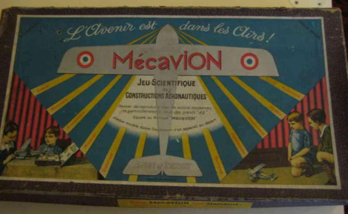 mecavion jouet scientifique metall baukasten flugzeugbaukasten in rot, blau und silber