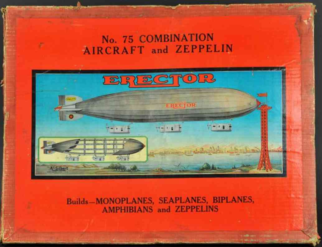 meccano erector 75 tin toy airplane kit aircraft zeppelin builder set