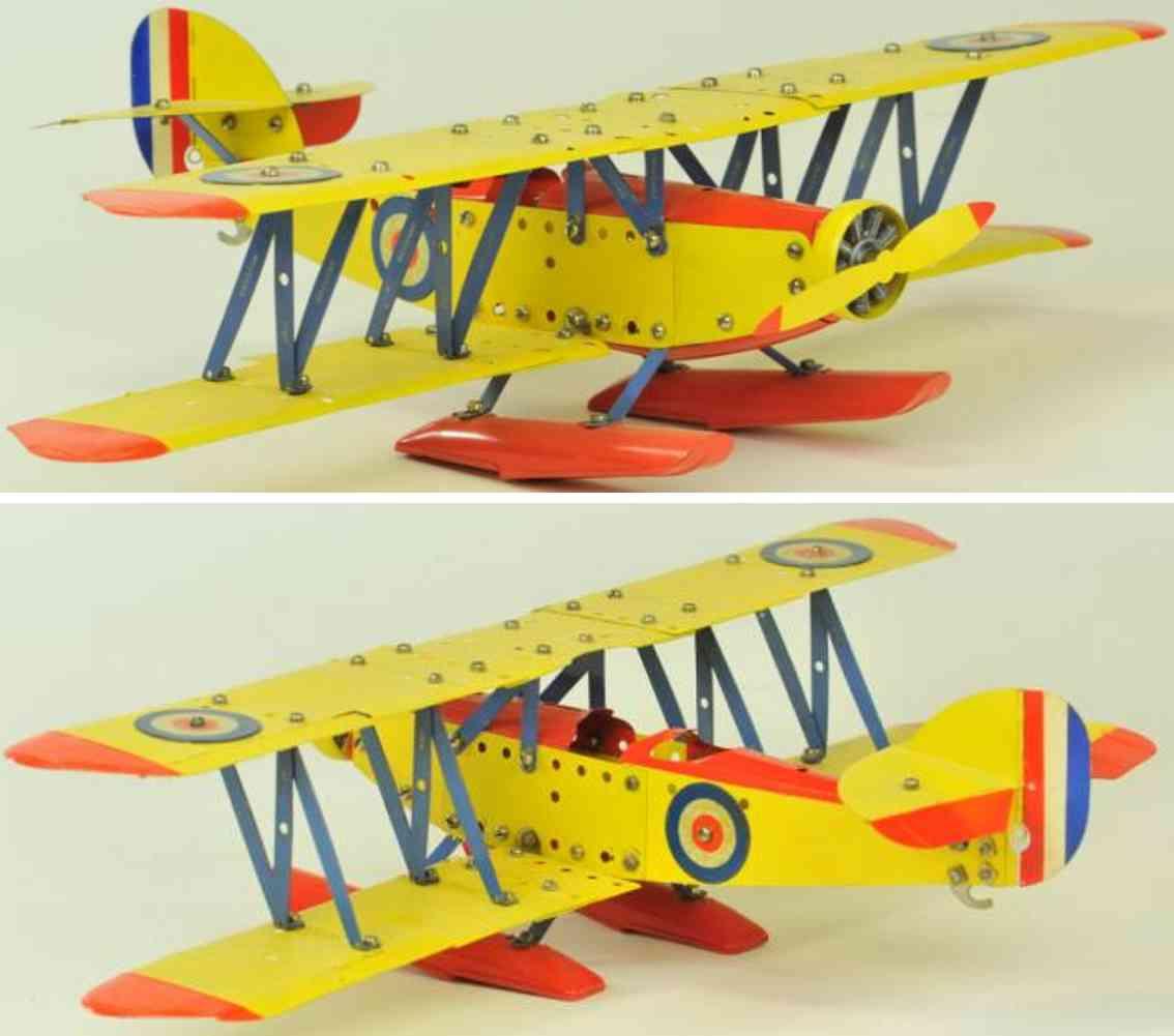 meccano erector blech spielzeug wasserflugzeug mit nieten