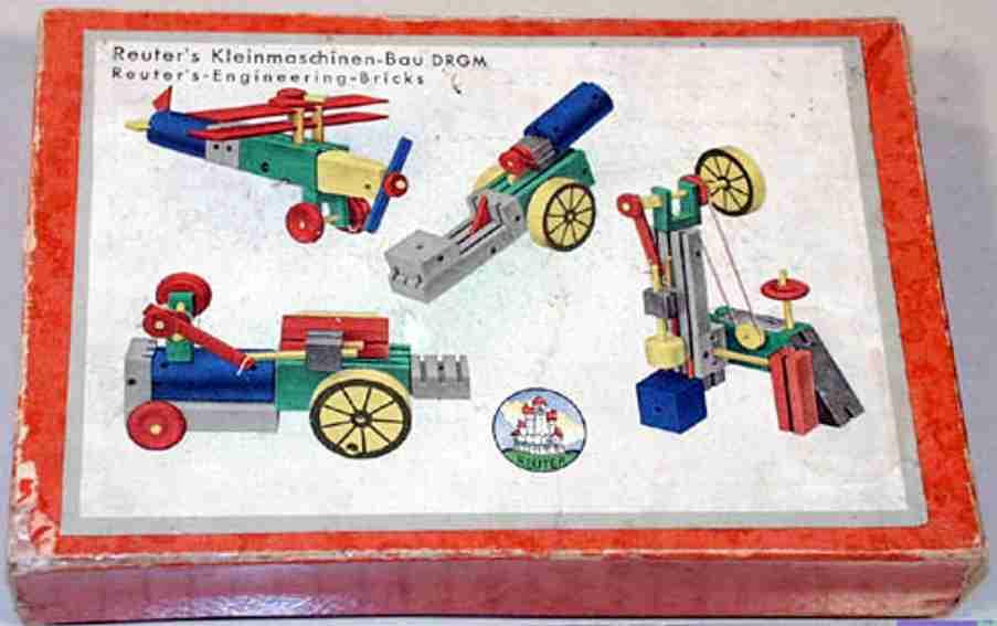 reuter blumenau holz spielzeug baukasten kleinmaschinen-bau mit federwerkmotor, vorlagenblatt (39 x 1